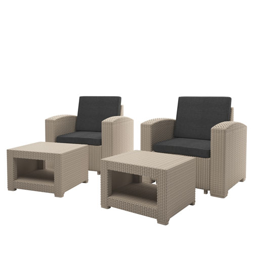 Weather Beige Chair and Ottoman Patio Set with Dark Grey Cushions