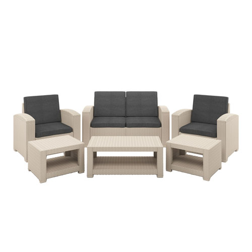 CorLiving Weather Beige Patio Set with Dark Grey Cushions