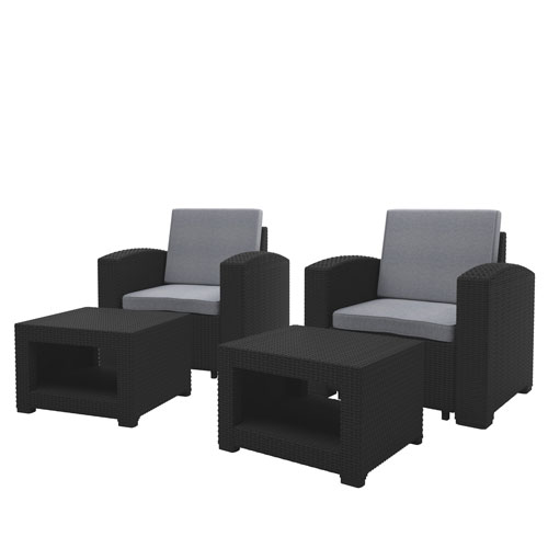 Weather Black Chair and Ottoman Patio Set with Light Grey Cushions