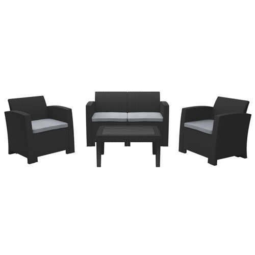 Weather Black Conversation Set with Light Grey Cushions