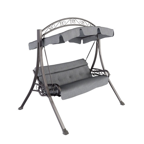 Patio Swing with Arched Canopy in Textured Grey