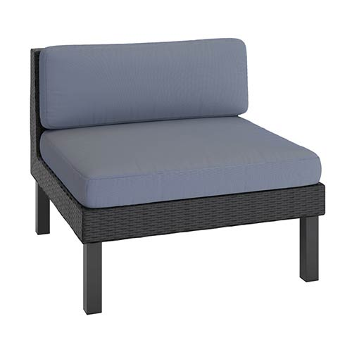 Oakland Textured Black Weave Outdoor Patio Middle Seat