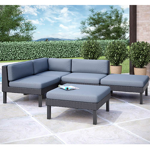 CorLiving Oakland Textured Black Weave Five-Piece Sectional Outdoor Chaise Lounge Patio Set
