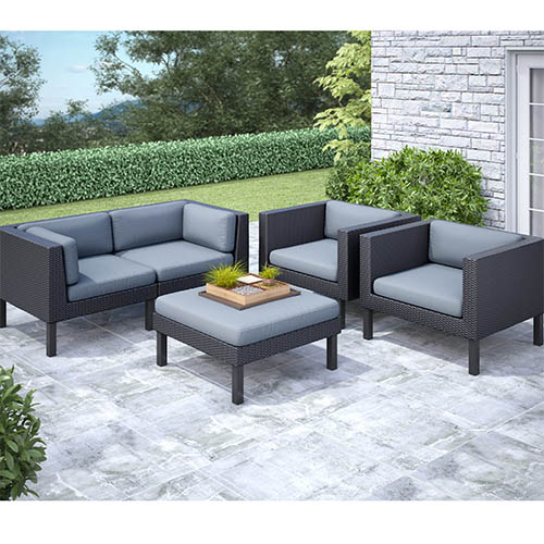 Corliving Oakland Textured Black Weave Five Piece Sofa And Chair Outdoor Patio Set