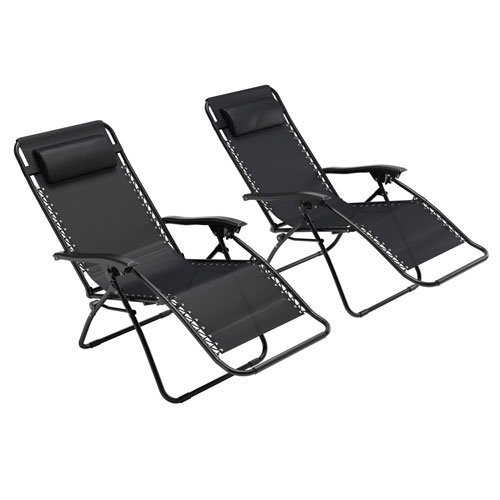 Textured Black Zero Gravity Patio Lounger, set of 2