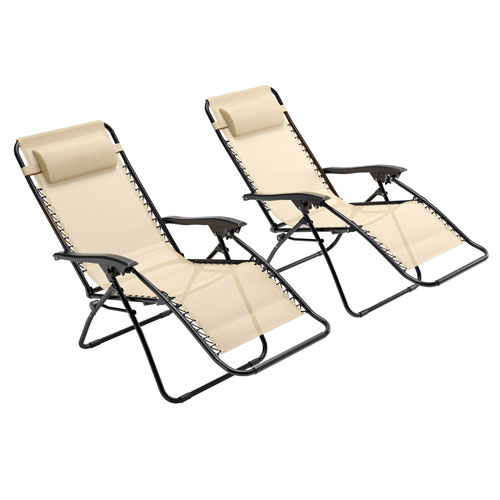 Textured Cream Zero Gravity Patio Lounger, set of 2