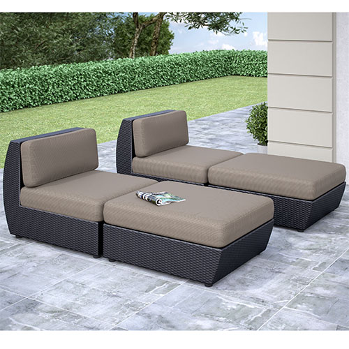 CorLiving Seattle Textured Black Weave Curved Four-Piece Lounger Outdoor Patio Set