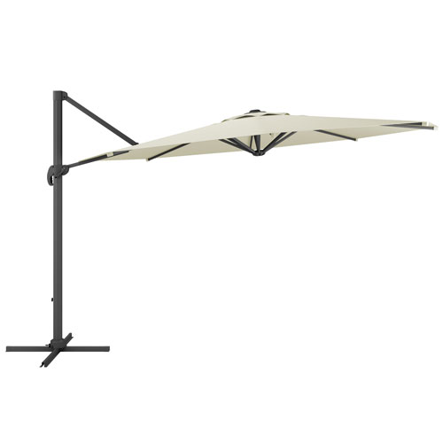 CorLiving Deluxe Offset Patio Umbrella in Warm White