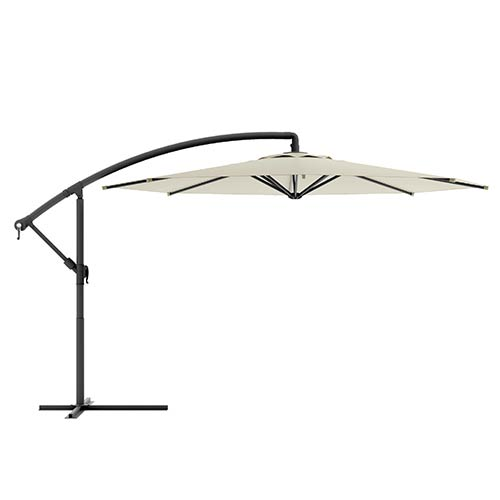 Corliving Warm White Offset Outdoor Patio Umbrella