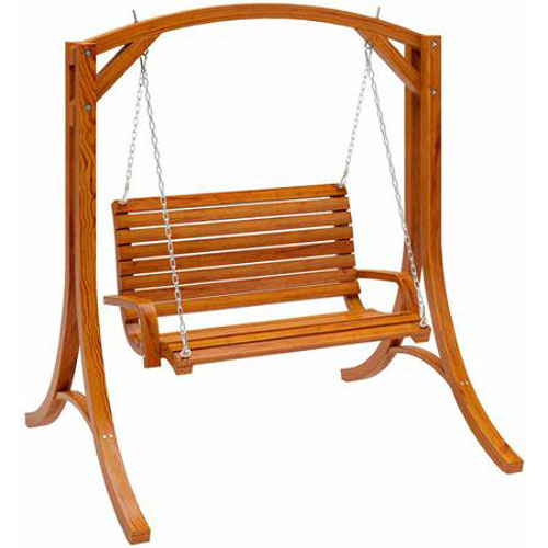 CorLiving Wood Canyon Cinnamon Brown Outdoor Patio Swing