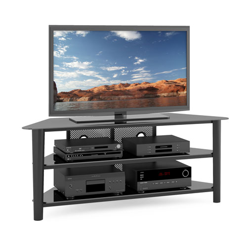 Alturas Black Stained Wood Veneer Corner TV Stand