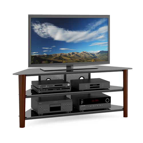 Corliving Alturas Dark Espresso Wood Veneer Corner Tv Stand Tal 694