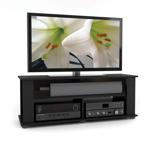 Corliving Bakersfield Ravenwood Black Tv Stand For Tvs Up To 55
