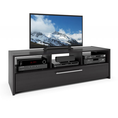 Naples TV Bench in Wood Grain Black, for TVs up to 68 Inches