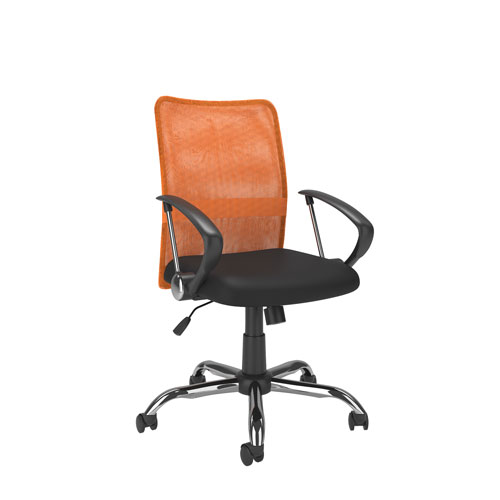 Workspace Office Chair with Contoured Orange Mesh Back