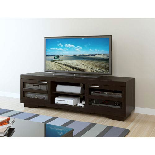 Sonax Granville 66-Inch Deep Black Wood Veneer TV Bench