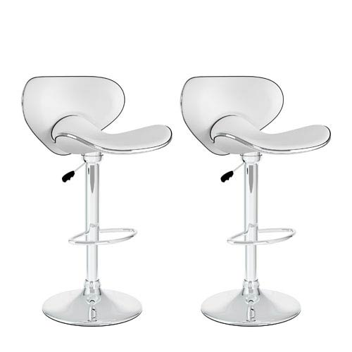 Sonax Dining Curved Form Fitting White Leatherette Adjustable Bar Stool, Set of Two