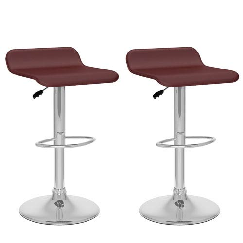 CorLiving Brown Leatherette 30.75-Inch Curved Adjustable Bar Stool, Set of 2