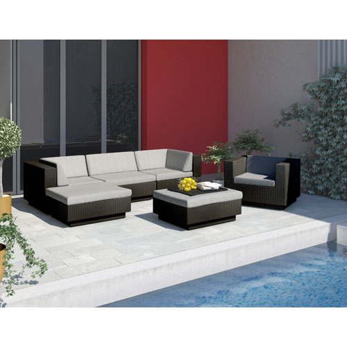 Park Terrace Textured Black Weave 29-Inch Patio Furniture