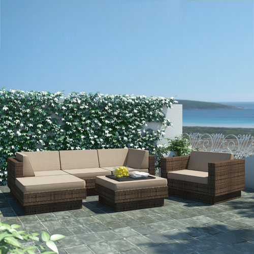Park Terrace Saddle Strap Brown Weave Patio Furniture