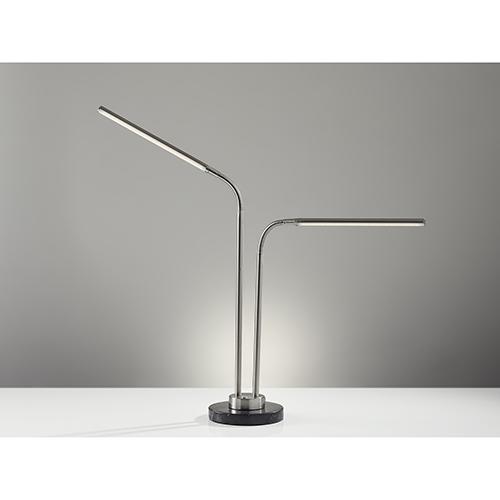 Hydra Brushed Steel Two-Light 220V LED Desk Lamp