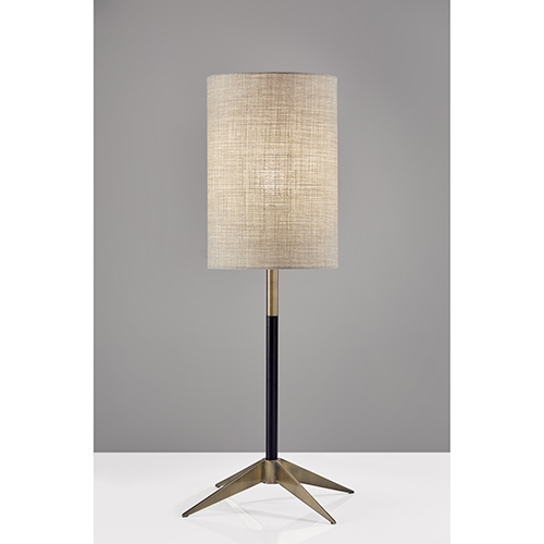 Davis Matte Black and Antique Brass One-Light Table Lamp