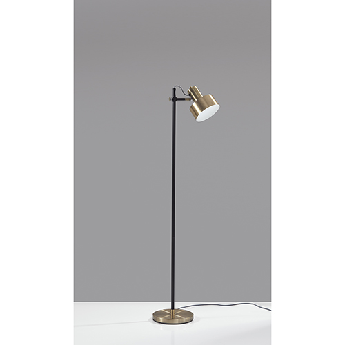 Clayton Matte Black and Antique Brass One-Light Floor Lamp