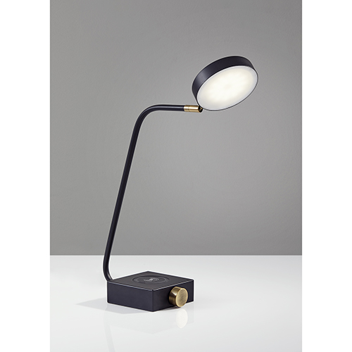Conrad Matte Black and Antique Brass Accent 220V LED Desk Lamp