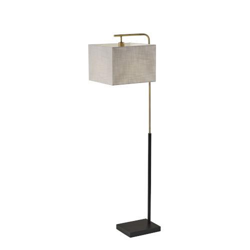 Flora Black and Antique Brass One-Light Floor Lamp