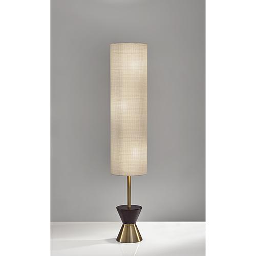 Carmen Antique Brass and Walnut Rubberwood Three-Light Floor Lamp