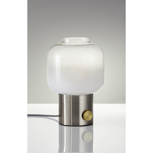 Lewis Brushed Steel and Antique Brass Accent One-Light Table Lamp