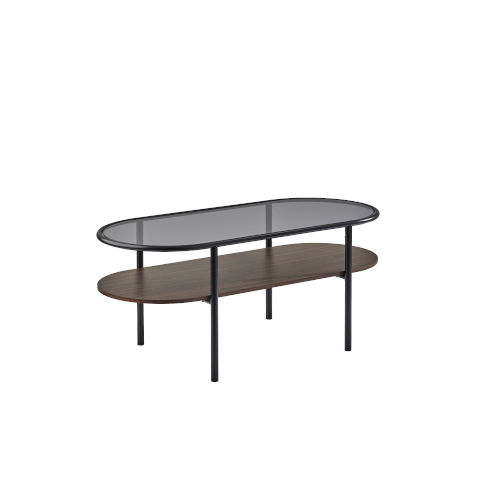 Gavin Black and Walnut Two-Tiered Coffee Table