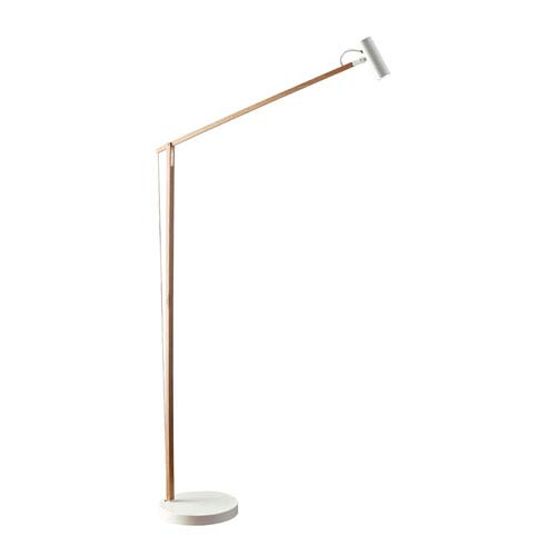 Crane Natural Wood and White LED Floor Lamp