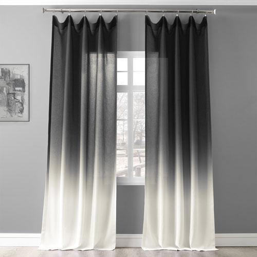 Ombre Black 96 x 50 In. Faux Linen Semi Sheer Curtain Single Panel