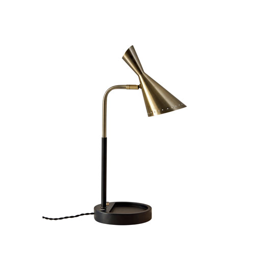 Zelda Black with Antique Brass Accents LED Table Lamp