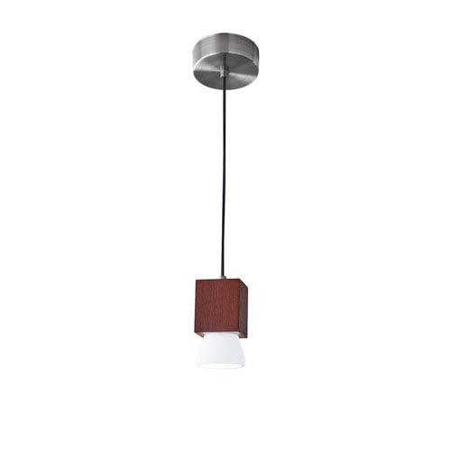 Adesso Burlington Walnut Wood with Brushed Steel Hardware LED One-Light Mini Pendant
