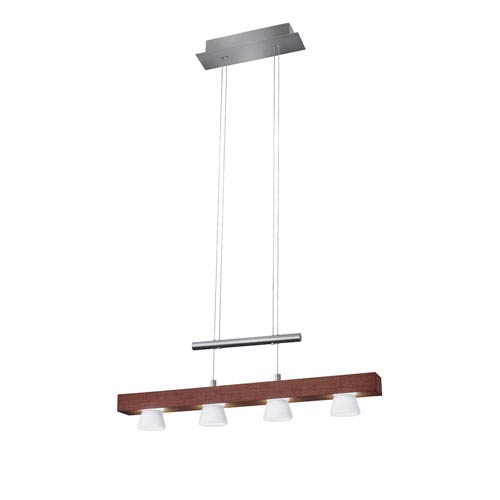 Burlington Walnut Wood with Brushed Steel Hardware LED Four-Light Pendant