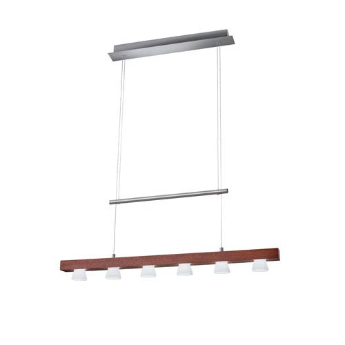 Burlington Walnut Wood with Brushed Steel Hardware LED Six-Light Pendant