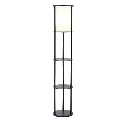 Stewart Black One-Light Shelf Floor Lamp with White Cotton Shade