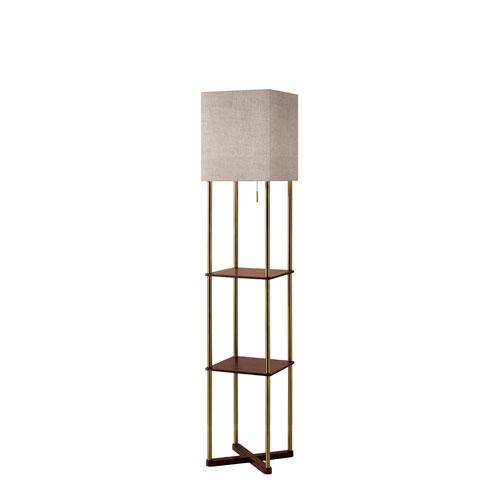 Adesso Harrison Antique Brass and Walnut Wood Paper Veneer One-Light Shelf Floor Lamp