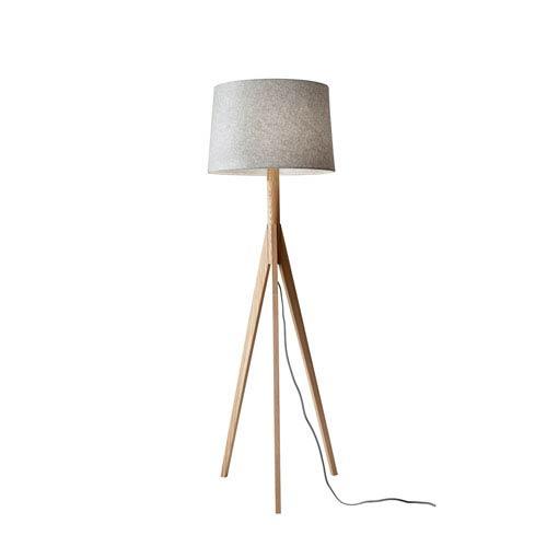 Wood base floor lamp bellacor adesso eden natural ash wood one light floor lamp aloadofball Gallery