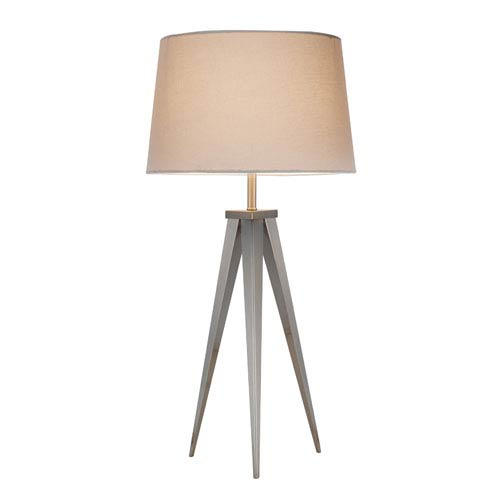 Producer Satin Steel Table Lamp w/White Tapered Drum Shade
