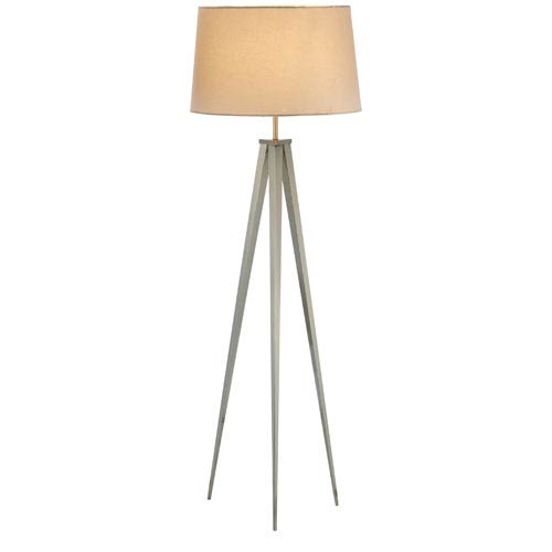 Adesso Producer Satin Steel Floor Lamp w/Off-White Tapered Drum Shade