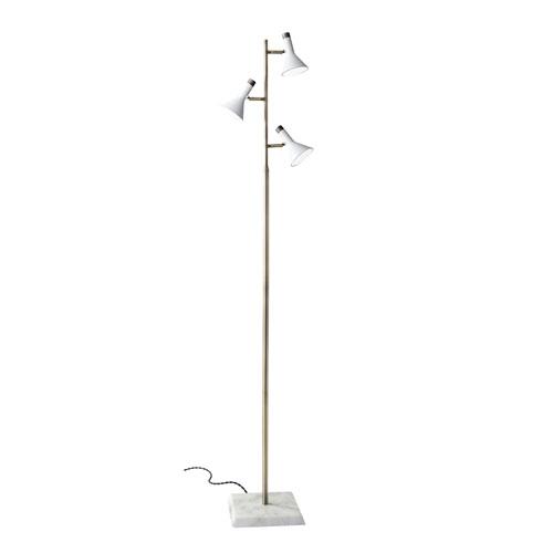 Bennett White and Antique Brass LED Task Floor Lamp