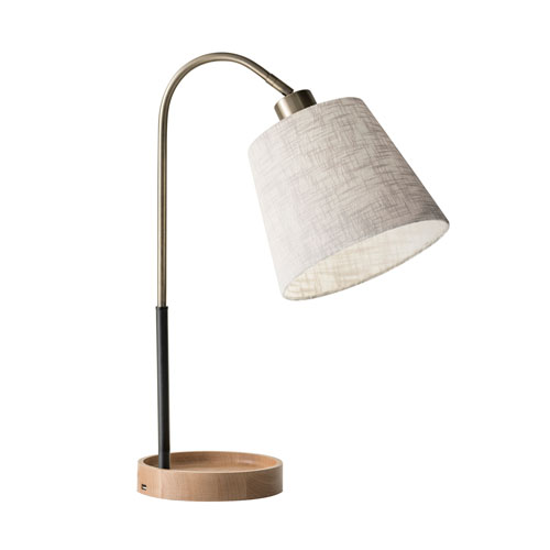 Jeffrey Black and Antique Brass One-Light Table Lamp