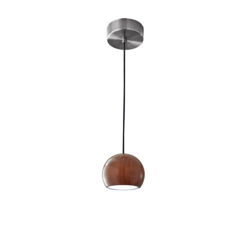 Cypress Walnut Wood with Brushed Steel hardware LED One-Light Round Mini Pendant