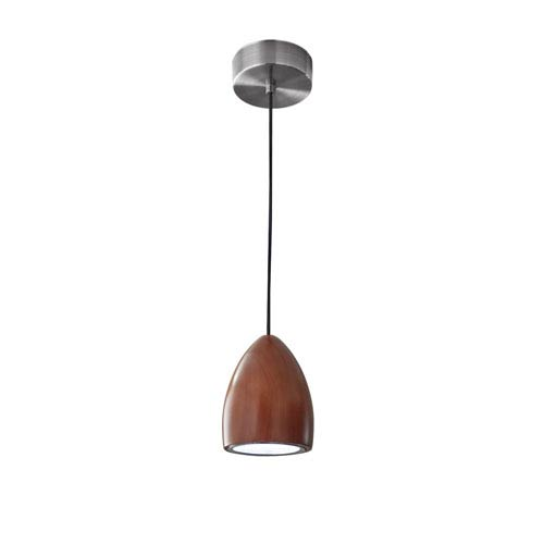 Cypress Walnut Wood with Brushed Steel hardware LED One-Light Oval Mini Pendant