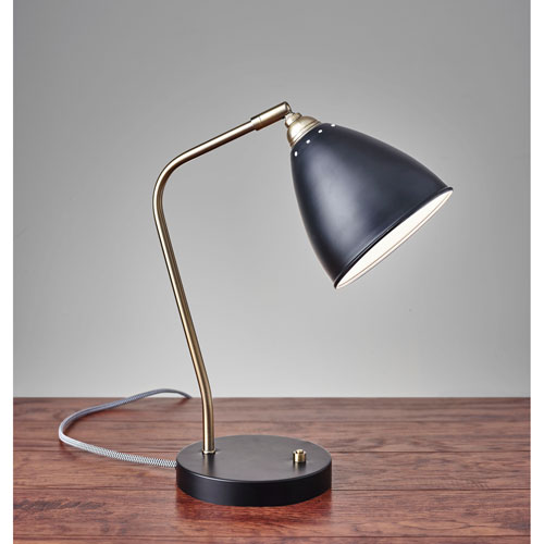 Chelsea Black and Painted Brass One-Light Desk Lamp