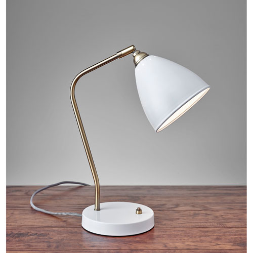 Adesso Chelsea White and Painted Brass One-Light Desk Lamp