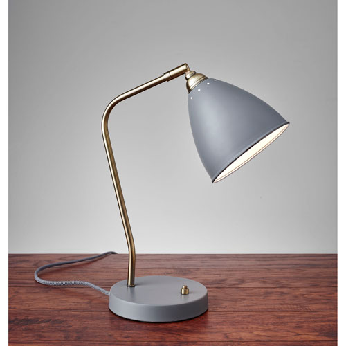 Chelsea Grey and Painted Brass One-Light Desk Lamp